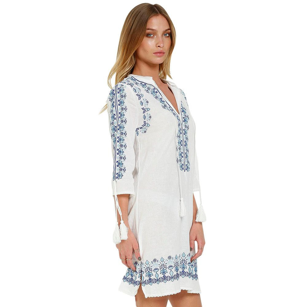 Stylish Plunging Collar 3/4 Sleeve Floral Embroidery Women's Dress