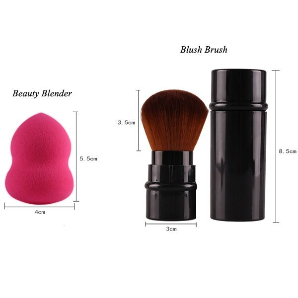 20 Pcs Eye Makeup Brushes Set + Makeup Sponges + Foundation Brush + Blush Brush