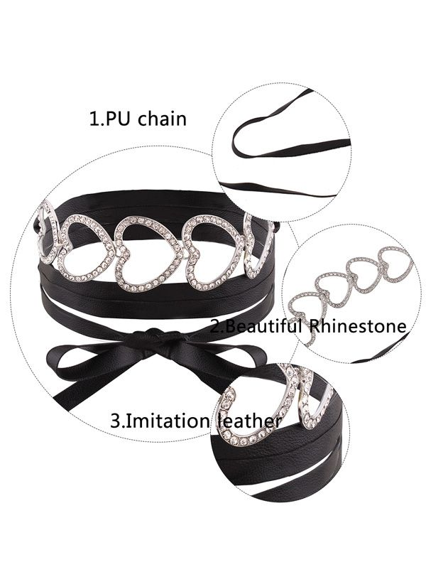 Hollow Out Heart Rhinestone Wrap Collarlace