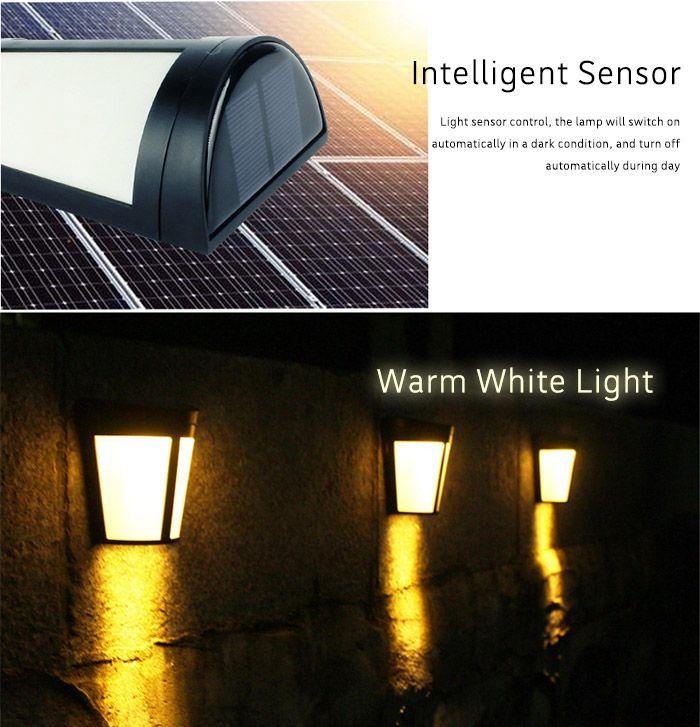 Solar Powered LED Wall Lamp for Garden