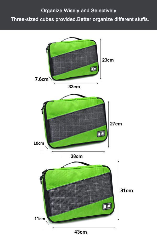 Mesh Panel 3 Pcs Storage Bag Set