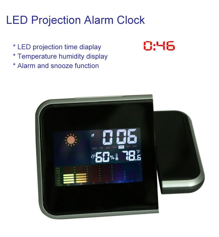 Temperature Humidity Display LED Projection Alarm Clock