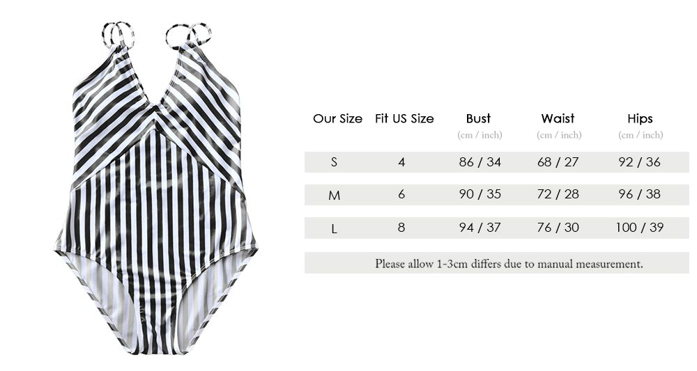Striped Slimming Strappy One Piece Swimsuit