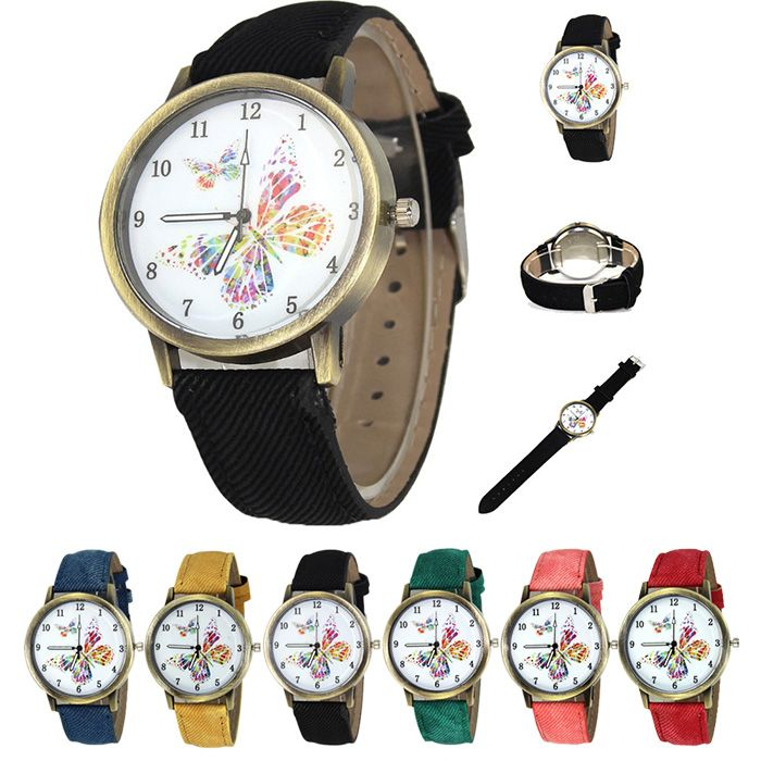 Faux Leather Strap Butterfly Face Watch