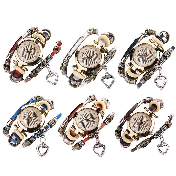 Rhinestone Heart Layered Charm Bracelet Watch