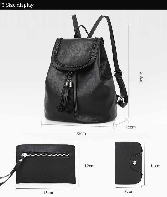 Tassel Faux Leather Backpack Set