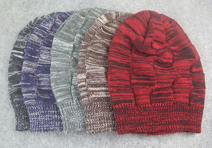 Striped Rib Knitting Warm Beanie Hat