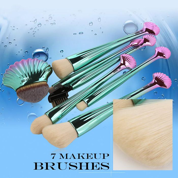 7Pcs Plating Shell Ombre Makeup Brushes Set