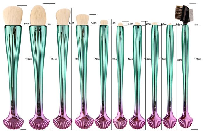 10Pcs Gradient Color Multifunction Ocean Shell Brushes Set