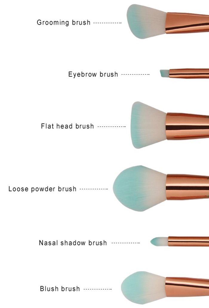 6Pcs Face Eye Ombre Mermaid Handle Makeup Brushes