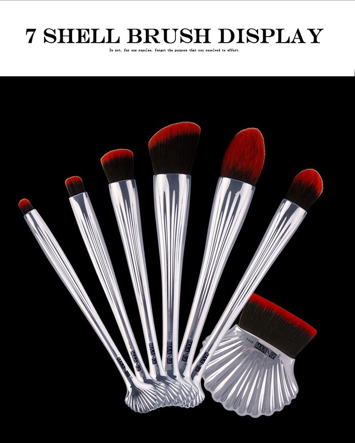7Pcs Plated Ocean Shell Design Makeup Brushes Set