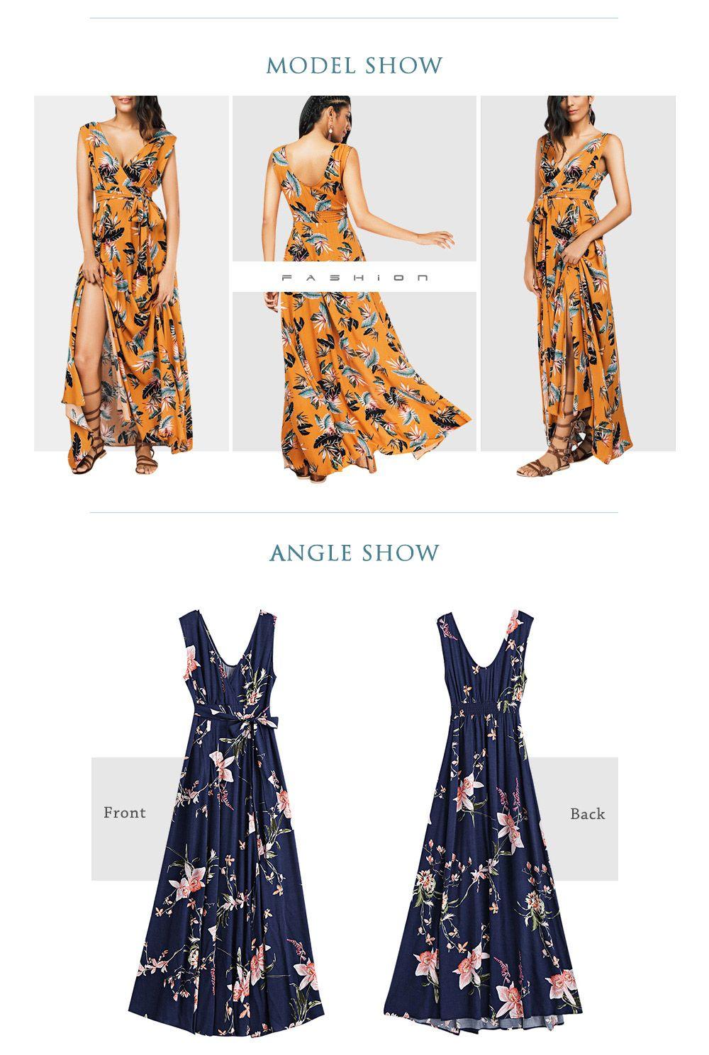 High Slit Floral Self Tie Maxi Surplice Dress