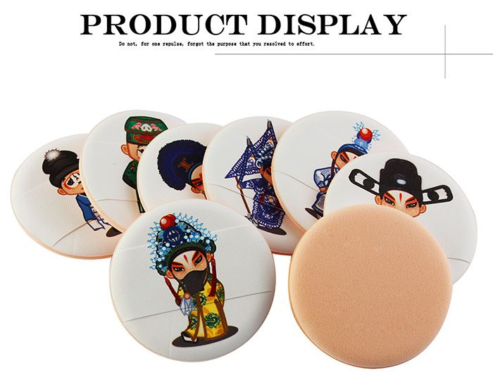 8Pcs Chinoiserie Peking Opera Element Powder Puff with Box