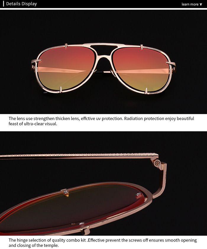Metallic Insert Pilot Mirror Sunglasses