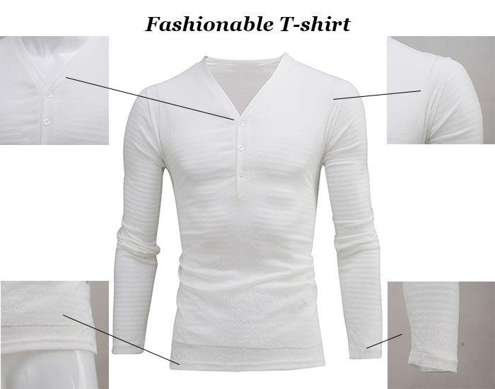 V Collar Buttons Design Long Sleeve T-shirt