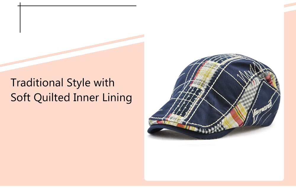 Retro Tartan Embroidery Patchwork Driver Hat