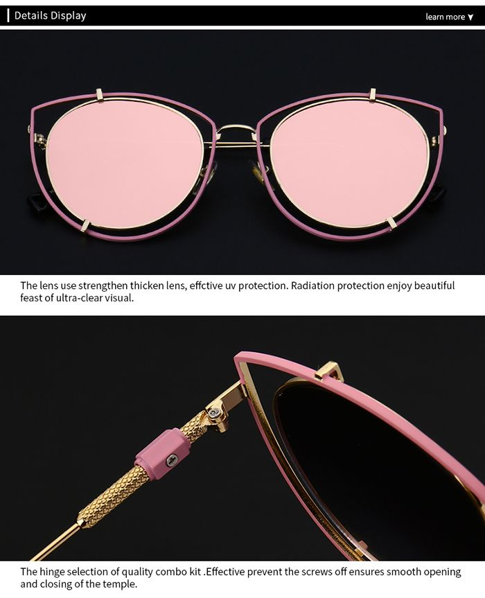 Double Frame Hollow Out Cat Eye Sunglasses