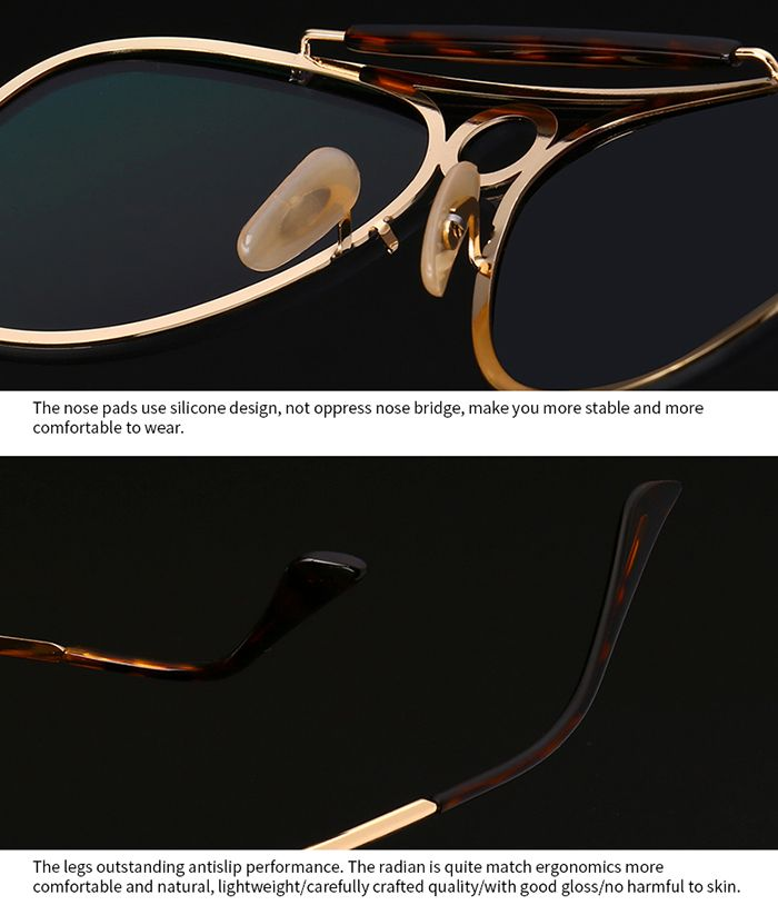 Leopard Bar Hollow Round Pilot Sheild Sunglasses