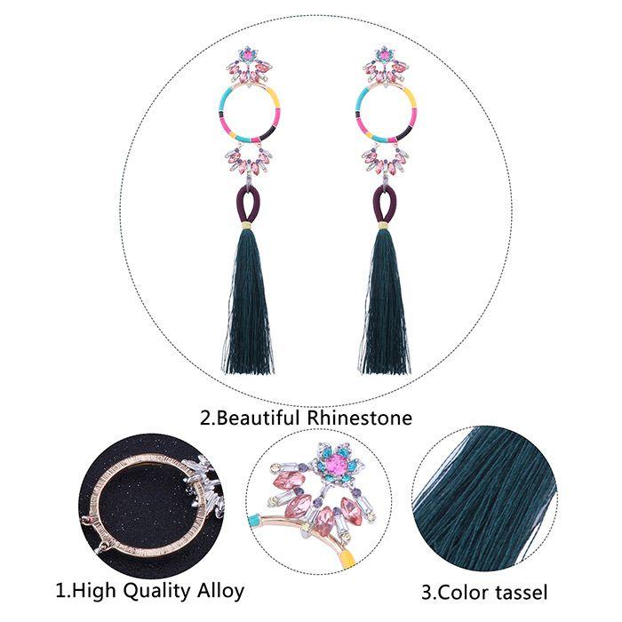 Hoop Rhinestone Tassel Pendant Earrings