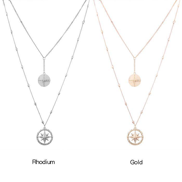 Layered Floating Star Pendant Embellished Charm Collarlace