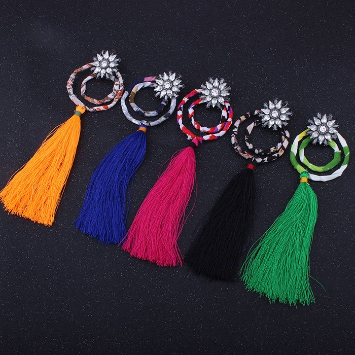 Double Circle Flower Tassel Pendant Earrings