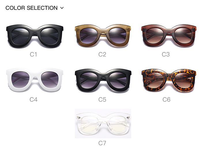Chunky Full Frame Design Plastic Sunglasses