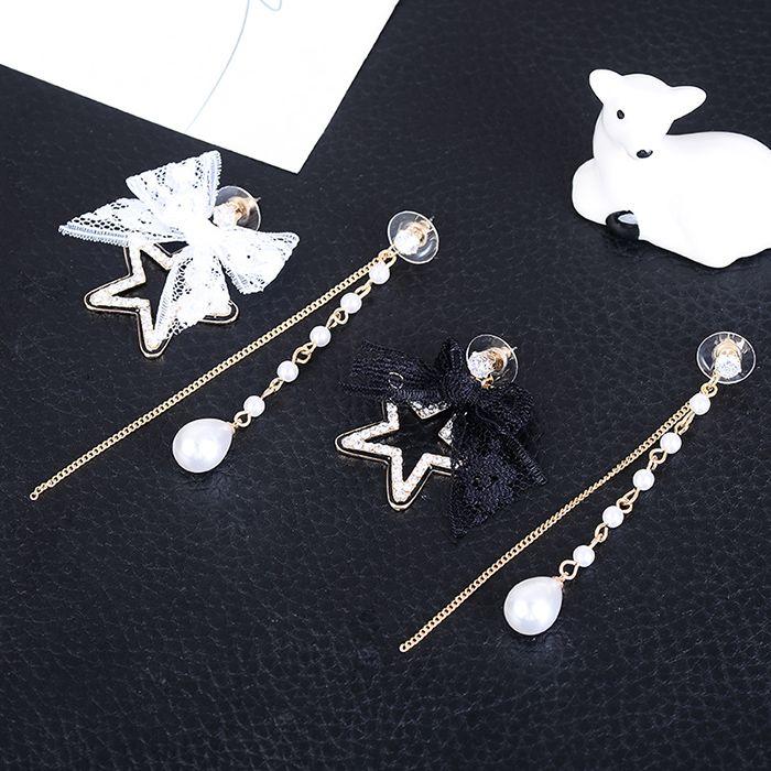 Lace Bowknot Rhinestone Star Embellished Asymmetrical Earrings