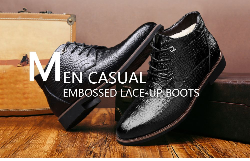 Casual Embossed Lace Up Boots