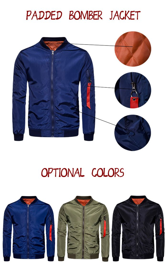Stand Collar Zip Up Padded Bomber Jacket