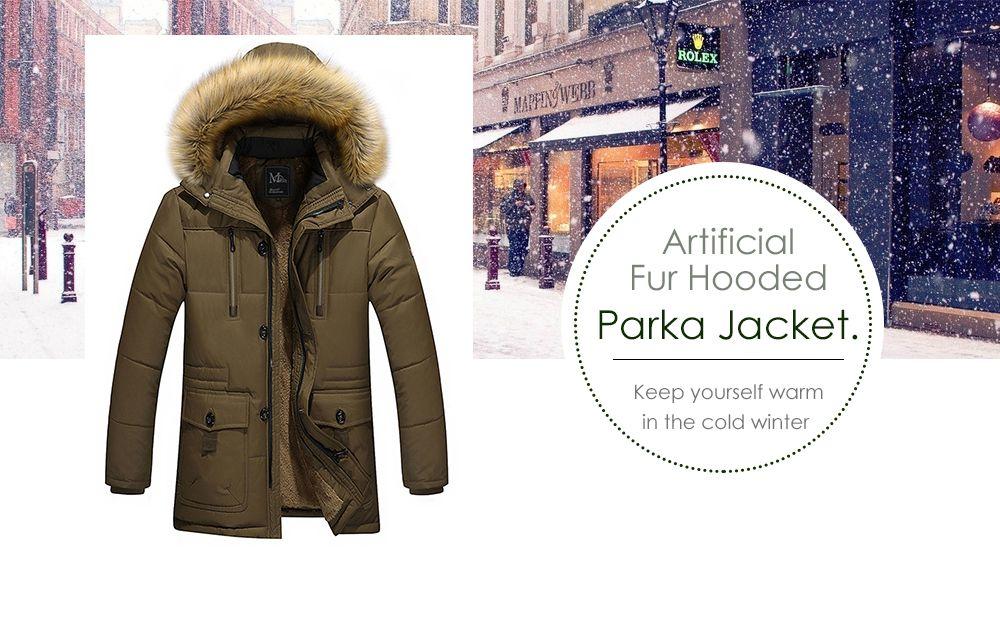 Artificial Fur Hooded Parka Jacket