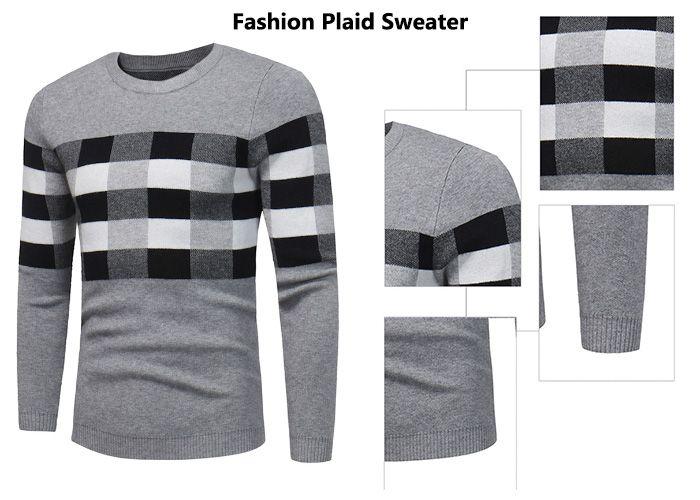 Crew Collar Color Block Plaid Pullover Sweater