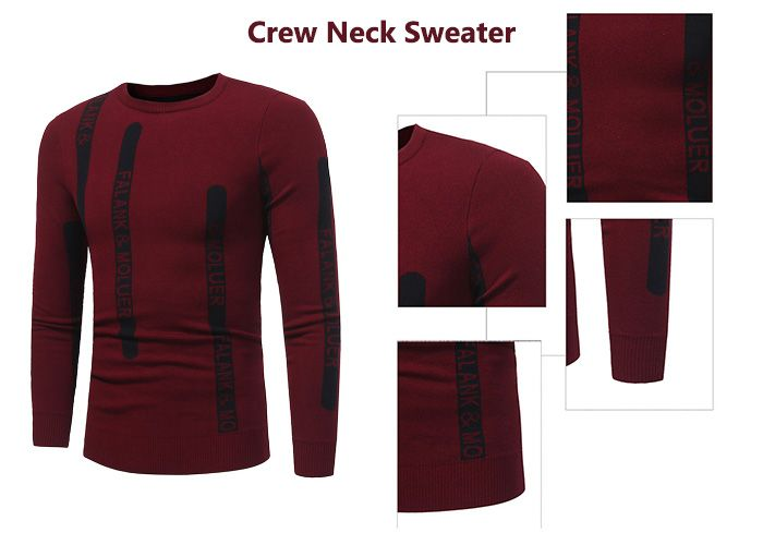 Crew Collar Graphic Print Ribbed Pullover Sweater