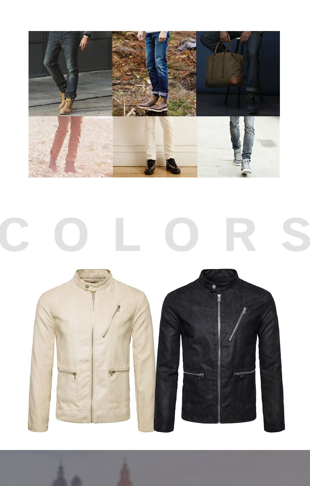 Stand Collar Zip Up Faux Suede Jacket