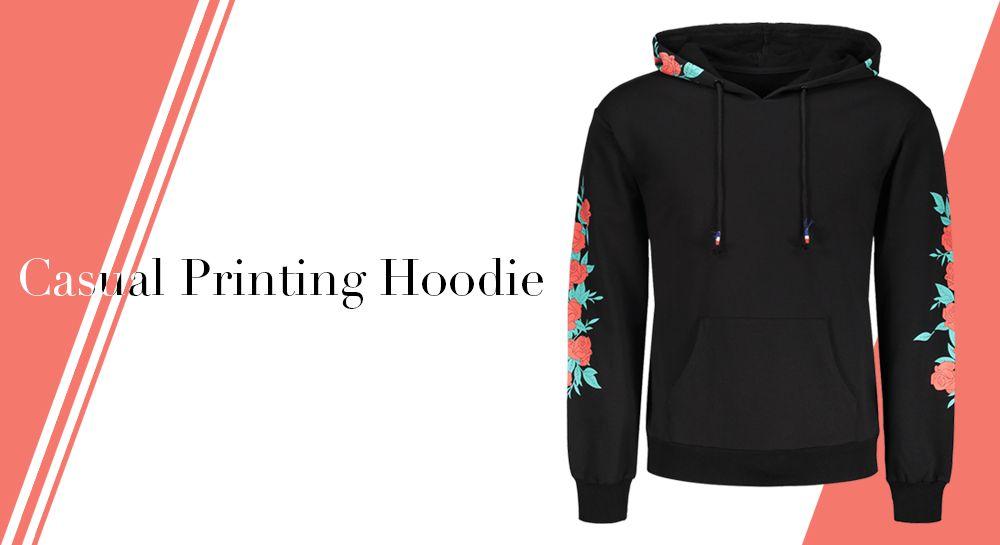 Floral Print Men Hoodie