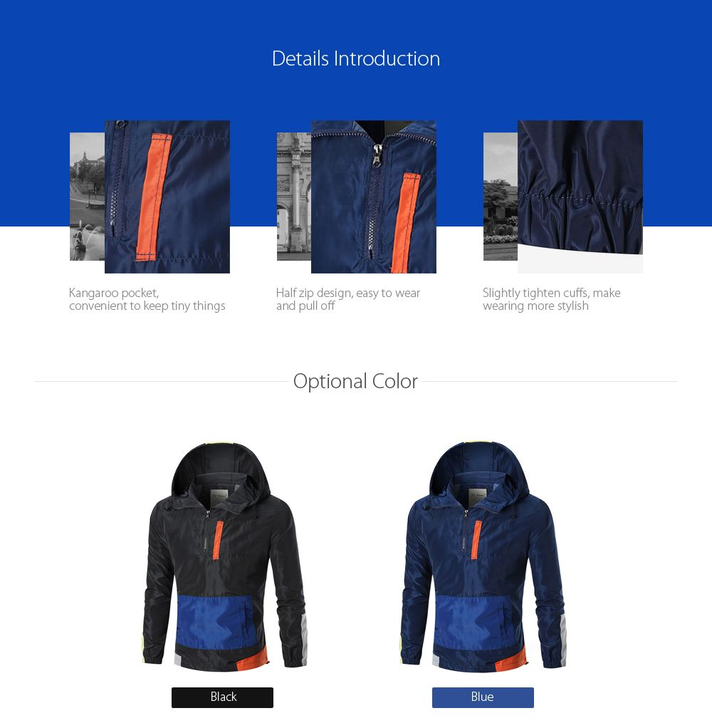 Colorblocked Hooded Windbreaker Jacket