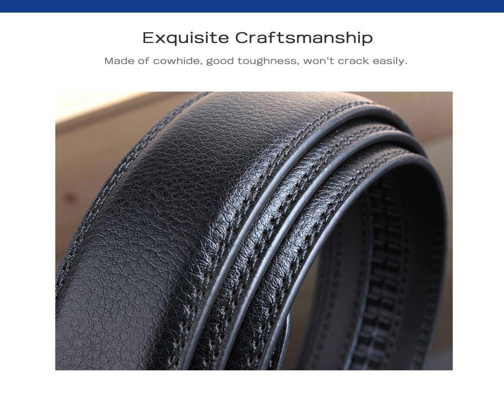 Stylish Polished Geometric Automatic Buckle Wide Belt