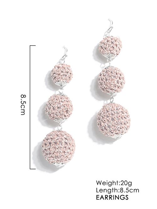 Long Three Woven Balls Pendant Earrings