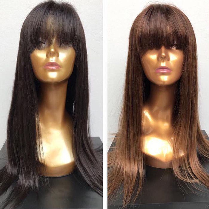 Long Neat Fringe Straight Synthetic Wig