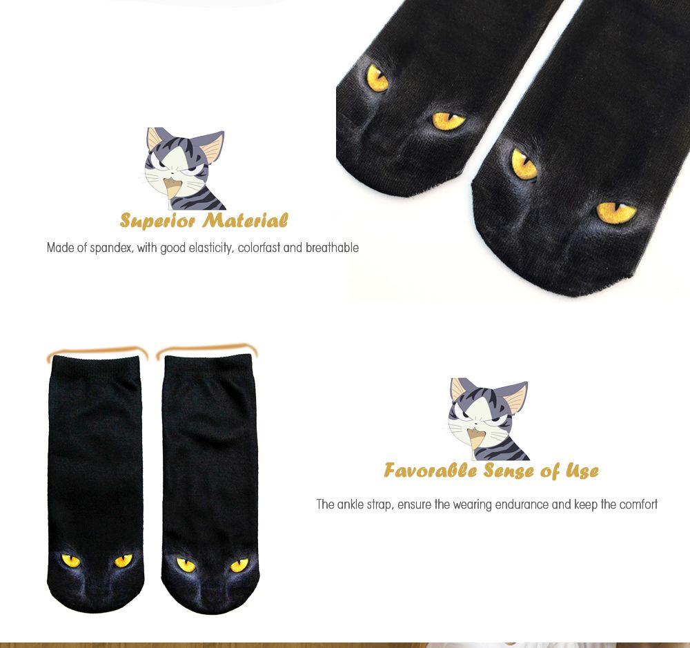 3D Black Cat Printed Crazy  Ankle Socks
