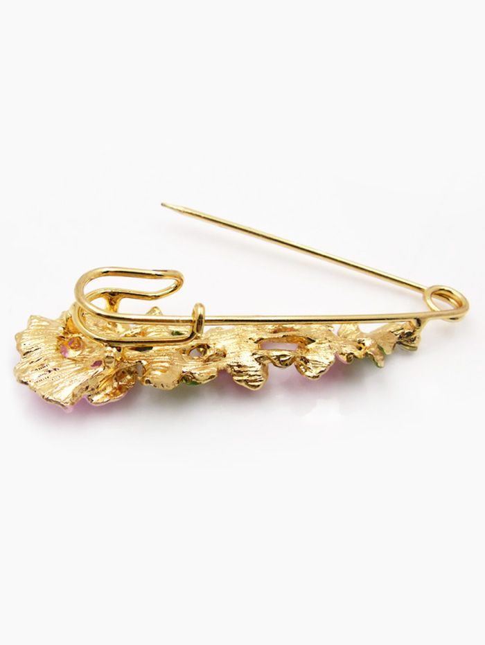 Flower Faux Diamond Brooch Pin