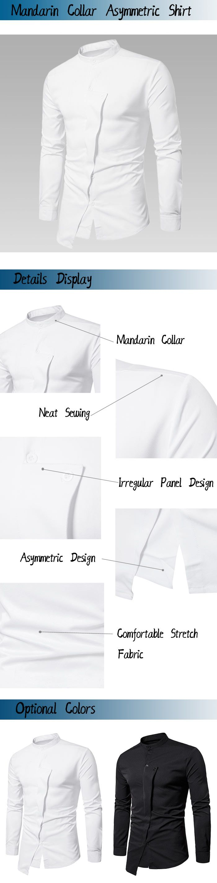 Mandarin Collar Irregular Asymmetric Shirt