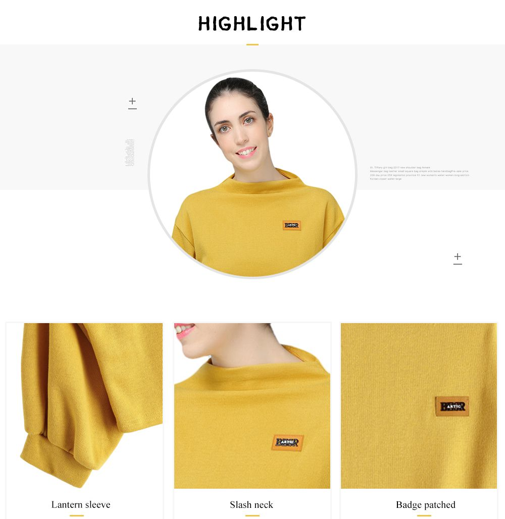 Lantern Sleeve Badge Patched Sweatshirt