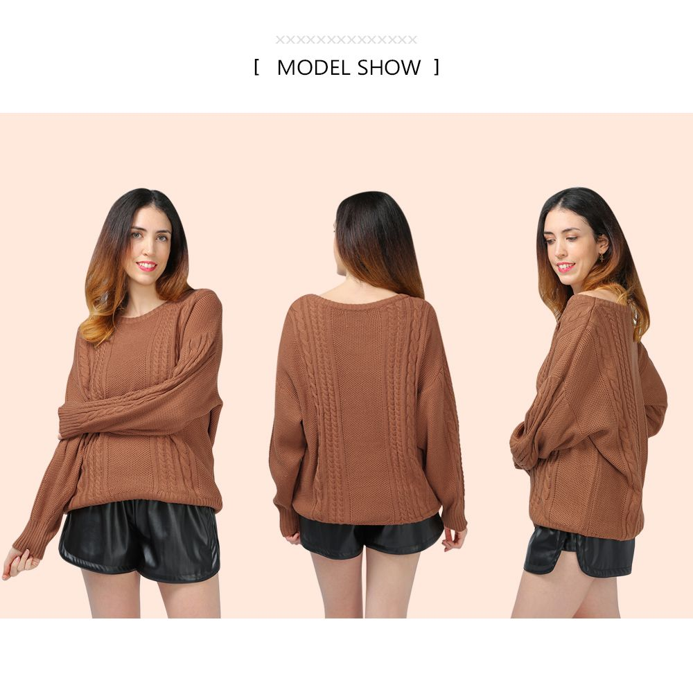 Plain Drop Shoulder Cable Knit Sweater