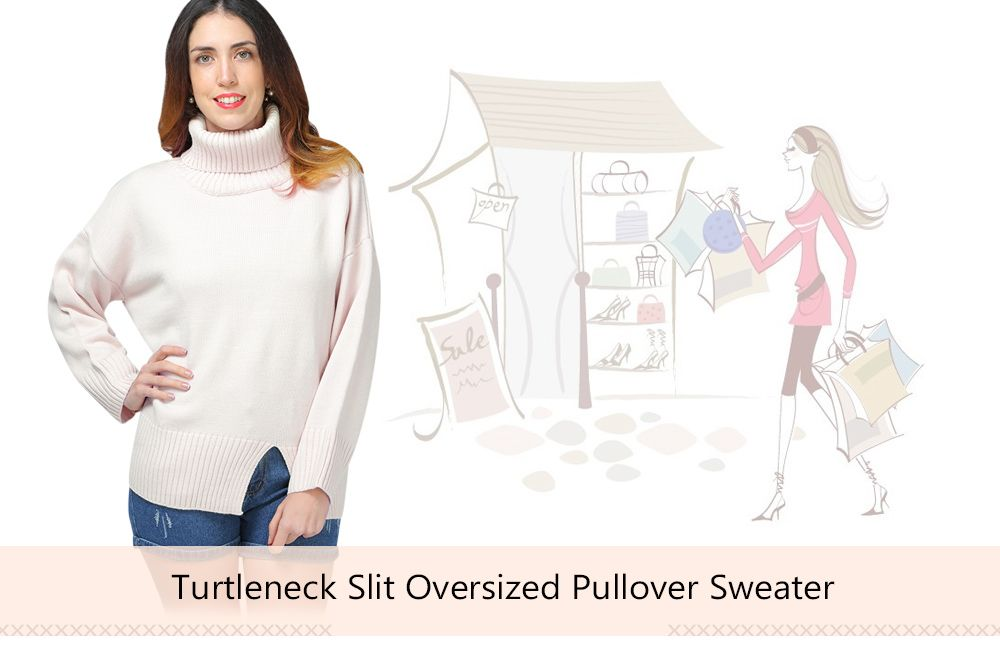 Turtlecollar Slit Oversized Pullover Sweater