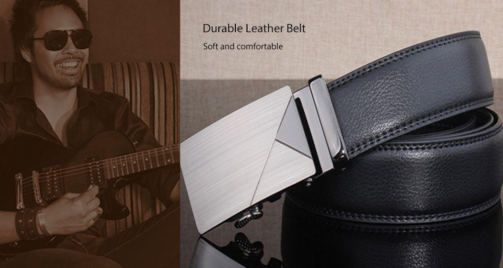 Polished Geometric Automatic Buckle Wide Belt