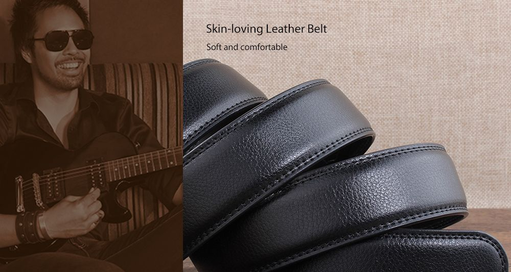 Metal Automatic Buckle Faux Leather Formal Belt