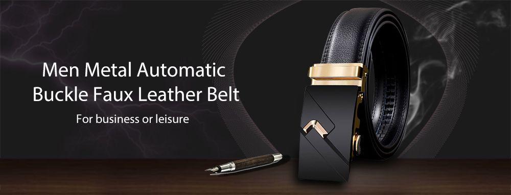 Vintage Automatic Buckle Faux Leather Wide Belt