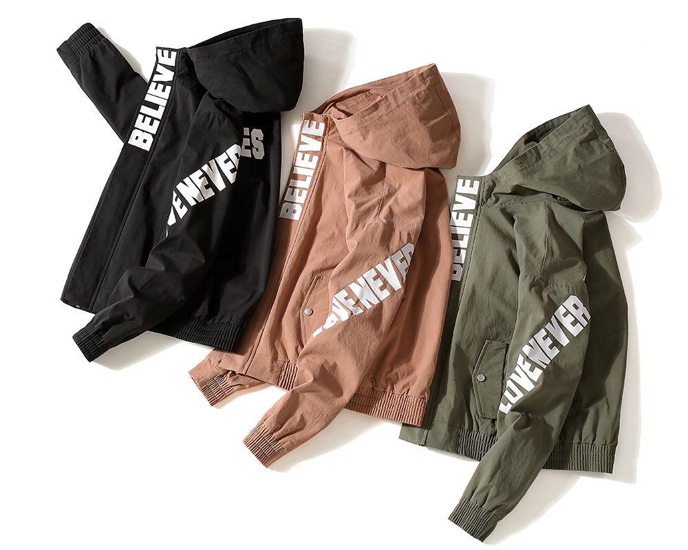 Letter Print Full Zipper Side Pocket Hooded Jacket