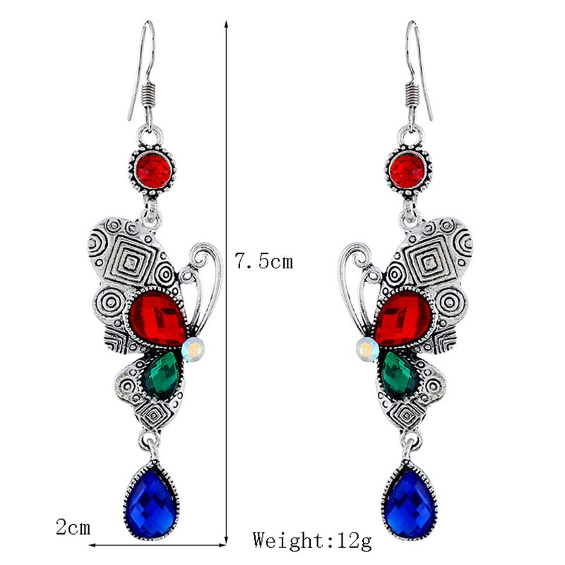 Colored Rhinestone Butterfly Metal Hook Earrings