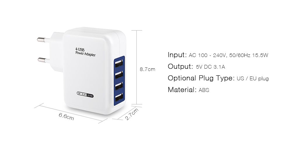 EU Plug Wall Charger 4 USB Ports Charging Adapter for Travel Home